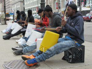 Photo of bucket drummers in Chicago