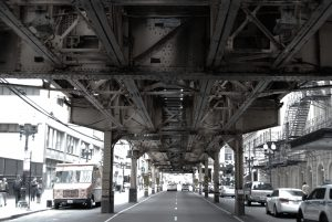 Photo of Chicago's elevated trains from street level