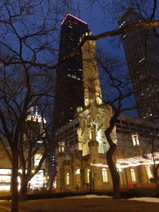 Evening photo of Water Tower Place and the John Hancock building, Chicago