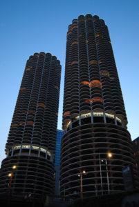 Marina City towers at dusk